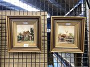 Sale 8888 - Lot 2050 - Diana Lane (2 works): Architectural Studies, oil paintings, signed
