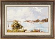 Sale 8945 - Lot 2044 - John Hingerty (1930 - ) - Laurieton Mooring, 1988 36.5 x 59 cm (frame: 56 x 79 x 4 cm)