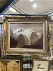Sale 8927 - Lot 2024 - Gladstone Eyre - Milford Sound, oil on board, 70 x 84 cm, signed lower right