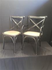 Sale 8962 - Lot 1088 - Set of 8 Black Cross Back Dining Chairs inc 2 Carvers (H: 88, W: 50, D: 50cm)