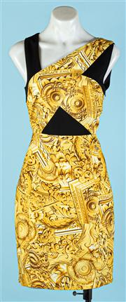 Sale 9090F - Lot 38 - A VERSACE JEANS A SYMETRICAL SLEEVED DRESS; with the gold classic Versace chain print all over and black detailing, size S