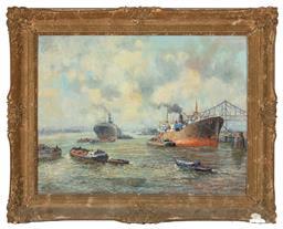 Sale 9190H - Lot 17 - B.V. Ryn, Rotterdam Harbour scene, oil on canvas, SLL, 59cm x 78cm, in gilt frame, damage to frame