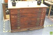 Sale 8406 - Lot 1017 - Timber 10 Drawer Map Chest