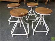 Sale 8480 - Lot 1114 - Set of 4 x White Timber Square Leg Stools