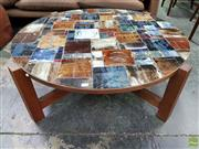 Sale 8585 - Lot 1088 - Gerard Havekes Attributed Round Tiled Coffee Table