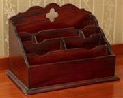 Sale 8908H - Lot 12 - A timber desk tidy. Height of back 32cm x Width 39cm x Depth 24cm