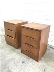 Sale 9056 - Lot 1089 - Pair of Vintage 3 Drawer Bedsides (h:57 x w:37 x d:39cm)