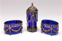 Sale 9107 - Lot 25 - A 19th Century Neo Classical Revival EPNS and Bristol Blue Glass Cruet Set