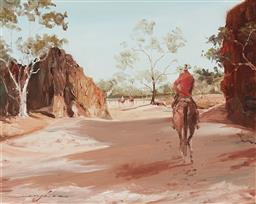 Sale 9150 - Lot 582 - KEITH NAUGHTON (1925 - ) The Gap, MacDonnell Ranges oil on board 39.5 x 50 cm (frame: 58 x 68 x 4 cm) signed lower left