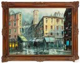 Sale 9190H - Lot 29 - Emilio Payes (b. 1935, Spanish), Paris street scene, oil on canvas,  Signed lower right, 58cm x 78cm, damage to frame.