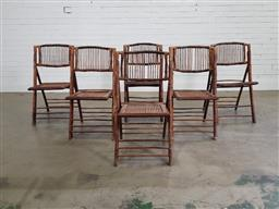 Sale 9191 - Lot 1047 - Good set of 6 vintage split cane folding chairs (h:90 w:48 d:43cm)