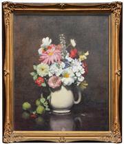 Sale 8286 - Lot 580 - Violet McInnes (1892 - 1971) - Still Life, 1939 (Flowers and Fruit) 59.5 x 48.5cm