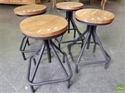 Sale 8480 - Lot 1190 - Set of 4 Black Timber Square Base Stools