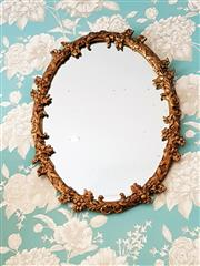Sale 8500A - Lot 33 - A vintage Italian round gilded mirror featuring floral gesso decorative frame - Condition: Very Good (some ghosting present) - Measu...