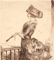 Sale 8707 - Lot 2068 - Adrian Feint (1894 - 1971) - The Balcony 11 x 10cm (sheet: 44.5 x 34.5cm)