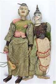 Sale 8603 - Lot 21 - Pair of Large Thai String Puppets