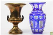 Sale 8635 - Lot 17 - Bohemian Blue Glass Vase And Gilded Ceramic Urn