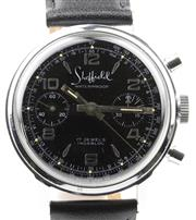 Sale 8655J - Lot 20 - A VINTAGE SHEFFIELD CHRONOGRAPH MANUAL WRISTWATCH; black dial, 2 registers, tachymeter track, 17 jewell Landeron Cal. 51 movement, c...