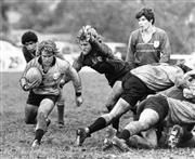 Sale 8754A - Lot 48 - Sydney City vs Sydney Country, Rugby Union, Millner Field, NSW, 1979 - David Forsythe, the Country holdback, about to be tackled by...