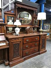 Sale 8822 - Lot 1242 - Late Victorian Blackwood Sideboard, the high back with multiple mirrors and shelves, the breakfront base with three drawers & two pa...