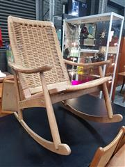 Sale 8839 - Lot 1053 - Vintage Teak Rocking Chair with Seagrass Upholstery