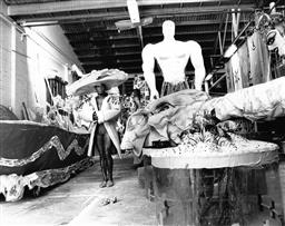 Sale 8912A - Lot 5028 - Malcom Cole, Aboriginal Representation float under construction for the Sydney Gay and Lesbian Mardi Gras Parade (1988), 25 x 20 cm,...