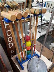 Sale 8912 - Lot 1054 - Timber Crochet Set On Metal Stand