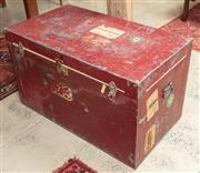 Sale 9060H - Lot 11 - A metal clad trunk of Italian origin with red painted finish and iron handles. 62 x 103 x 60cm