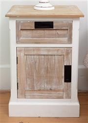 Sale 9070H - Lot 34 - Two shabby chic bedside tables with one drawer above door, Height 67cm x Width 46cm x Depth 35cm