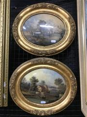 Sale 9072 - Lot 2008 - A Pair of 19th century English Country Scene Paintings, frame: 30 x 35 cm, (af)