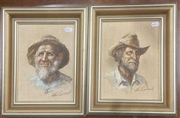 Sale 9111 - Lot 2036 - John Cornwell (two works) Emu Flat Fred & Mullet Mick, oil on canvas board, frame: 33 x 28 cm each, each signed lower right -