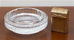 Sale 9140H - Lot 52 - A heavy guage moulded glass ashtray together with a glomesh cigarette case, Diameter of ashtray 18cm