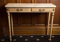 Sale 8392H - Lot 1 - A marble top two drawer pine console table, H 75 x W 93 x D 32cm