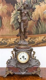 Sale 8435A - Lot 64 - An early C20th French rose marble and spelter mantle clock, Chant de Rossignol, H 63cm