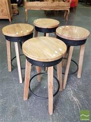 Sale 8480 - Lot 1149 - Set of 4 Industrial Wooden Stools