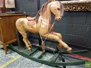 Sale 8539 - Lot 1028 - Swedish Carved Pine Gemla Rocking Horse, ex Virtanen Antiques, (missing ears) H 98cm