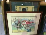 Sale 8650 - Lot 2082 - 2 Framed Tapestries: Fishing Hut & Black Watch