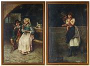 Sale 9055A - Lot 5028 - Salvatore Maresca (2 works) - Pretty Persuasion & Aperitivo, c1880 39 x 26 cm (frame: 45 x 30 x2 cm)