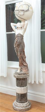 Sale 9070H - Lot 18 - Good Early 20th Century Carved & Coloured Alabaster Figural Lamp, the scantily clad smiling woman holding a ball shade, with matchin...