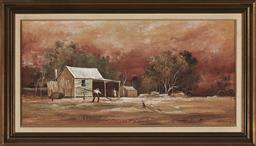 Sale 9155 - Lot 2023 - STUART MCKENZIE CULLEN (1933 - ) Collecting Firewood, 1972 oil on board 29.5 x 60 cm (frame: 41 x 72 x 4 cm) signed lower right