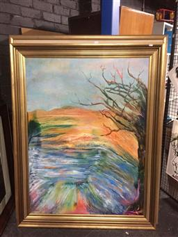 Sale 9139 - Lot 2033 - Two Large Oil Landscapes by Valda Morris