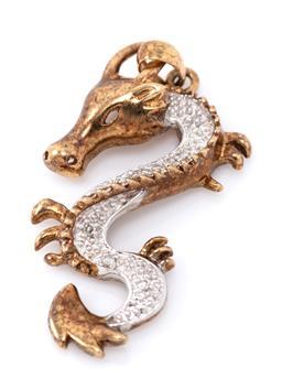Sale 9169 - Lot 374 - A 9CT GOLD DIAMOND DRAGON PENDANT; set with 6 single cut diamonds, size 26 x 15mm, wt.2.13g.