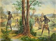 Sale 8325 - Lot 591 - Artist Unknown (XIX) - Aboriginals Hunting, 1911 39 x 56cm