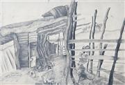 Sale 8410A - Lot 5002 - Anne Hall (1945 - ) - John Perceval Painting in the Barn, 1969 70.5 x 101.5cm (sheet size)