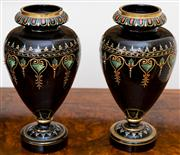 Sale 8435A - Lot 65 - A pair of C19th black glass and enamel mantle vases, H 22cm