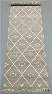 Sale 8438K - Lot 90 - Jaipur Veggie Dye Kilim Runner | 500x80cm, Pure Wool, Handwoven in Rajasthan, India with a pure NZ wool composition. Fully reversibl...