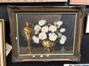Sale 8797 - Lot 2074 - John Dyknian - Still Life Roses, oil, 44x59.5cm