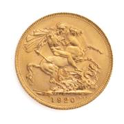 Sale 8855H - Lot 70 - 1920 gold sovereign weight approx 7.95g, P above 1920