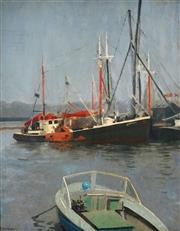 Sale 8992 - Lot 558 - Percy Leason (1889 - 1959) - Mooring 49 x 39 cm (frame: 62 x 52 x 4 cm)