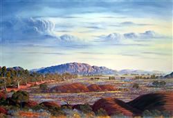 Sale 9091A - Lot 5030 - Jack Absalom (1927 - 2019) - Everard Ranges - Land of the Pitjantjatjara 43 x 60.5 cm
